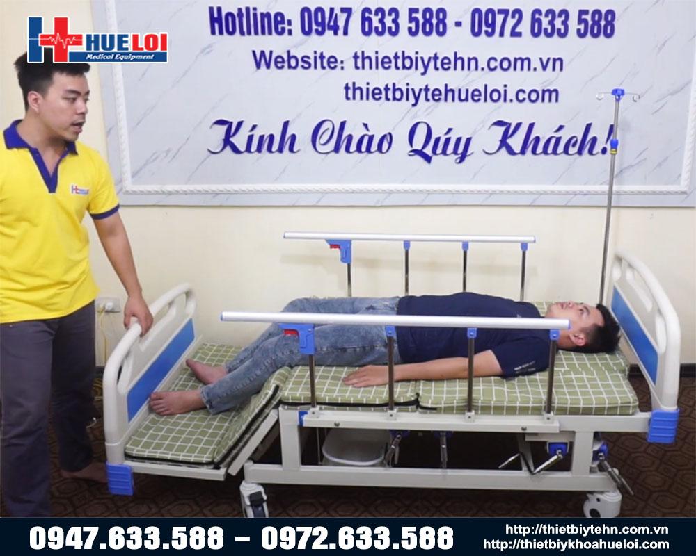 giường y tế hạ chân góc to